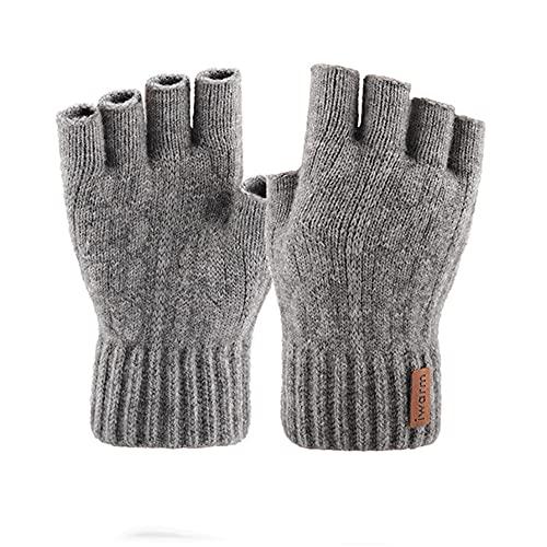Guantes de Punto sin Dedos Guantes de Invierno espesos cálidos para Pantalla táctil Guantes de Ciclismo de Medio Dedo elásticos elásticos al Aire Libre Unisex-Light Gray-One Size