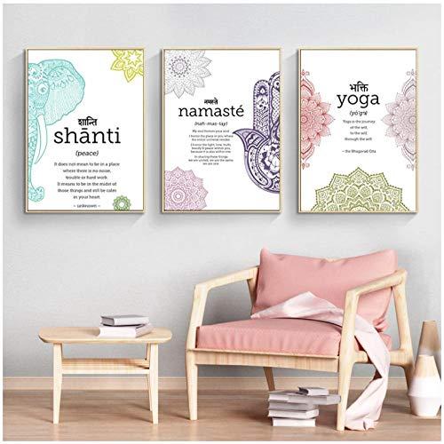 YQQICC Yoga Namaste Shanti Póster artístico e impresión de texto Citas Obra de arte Pintura en lienzo Minimalismo Cuadro de pared Zen Decoración moderna del hogar - 50x70cmx3 sin marco