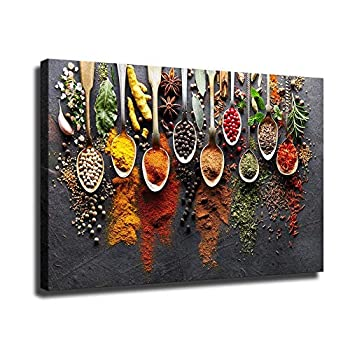 Santa Rona Kitchen Spice Wall Art Poster Decor HD Spoon Spice Seasoning Food Photography Art Canvas Oil Painting Mural Home Office Party Decoration Bedroom Decoration Holiday Gift  20 x30  Unframe