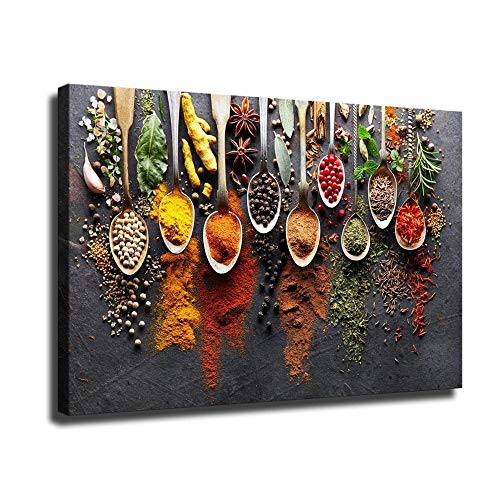 Santa Rona Kitchen Spice Wall Art Decoration HD Spoon Spice Seasoning Food Photography Art Canvas Oil Painting Mural Home Office Party Decoration Bedroom Decoration (32
