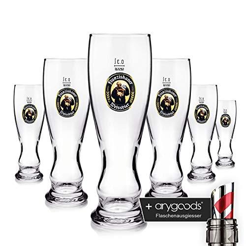 Franziskaner Weissbier, 6 bicchieri da birra in vetro da 0,3 l, con beccuccio per bottiglia, decorazione da bar