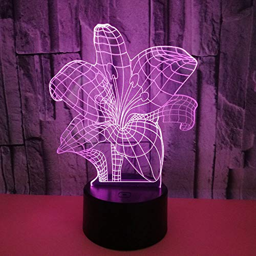 LED Night Light 3D-Vision-Seven Colors-Remote Control-Bedroom Night Light Plant Lily Flower Shaped Living Room Multicolor bureaulamp Dekokabel verlichting Gift voor vrienden