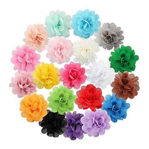 Miaoo 20 pinces à cheveux à fleurs en mousseline de soie, pour bébés et enfants