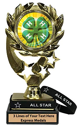 Express Medals 4H Trophy with Removable Wearable All Star Wrist Band Marble Base and Personalized Engraved Plate