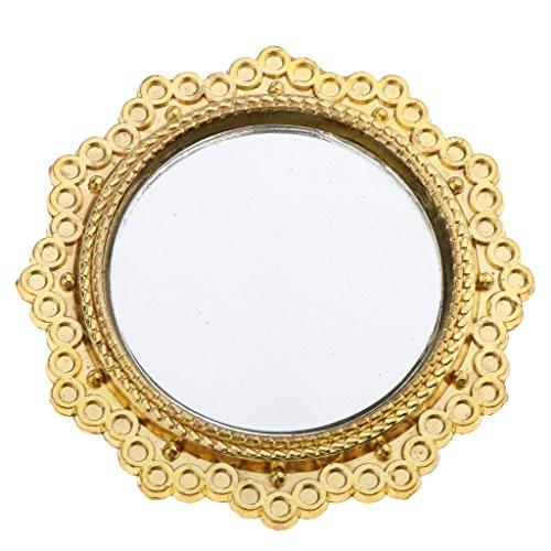 Sharplace Miroir Rond Vintage Cadre Doré en Métal Décor Salle De Bains Ornement pour 1:12 Maison de Poupée--5cm