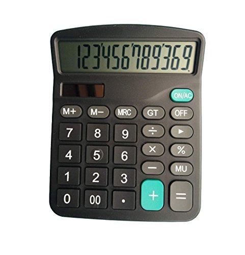 Calcolatrice elettronica da tavolo, a energia solare + batteria a doppia potenza, ad alta tecnologia, con ampio display LCD a 12 cifre, da ufficio Nero