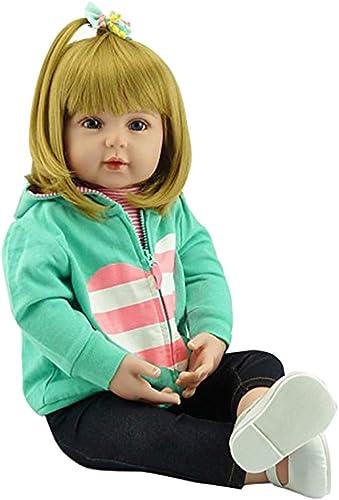 bulingLU-24in Realistische Reborn Puppe Weißem Silikon Vinyl Neugeborenen mädchen Prinzessin Lebensechte Handgefertigten Spielzeug Für Kinder Geburtstag