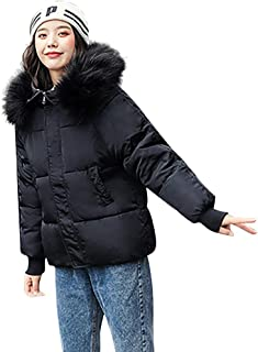 WOCACHI Down Jackets for Womens, Cotton-Padded Zipper Pocket Detachable Hooded Parka Winter Coat Outerwear Overcoat