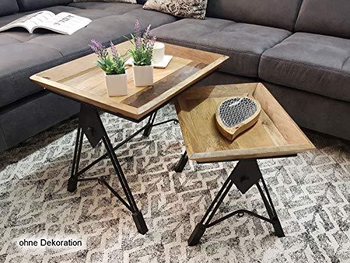casamia Couchtisch Set 2 Stück Satztisch Wohnzimmer Tisch Manchester Metall-Gestell schwarz matt