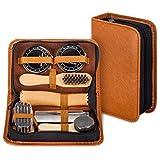 make it funwan Schuhputz-Set mit einem glatten und eleganten PU Etui, Schuhputz-Reise Set mit Bürste, bestehend aus 7 Teilen