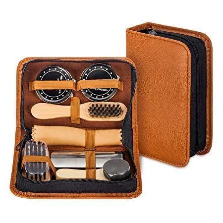 make it funwan Kit pour Cirage de Chaussures avec étui élégant en cuir PU, Kit pour cirage de chaussures de voyage 7 pièces