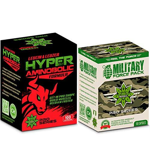 Cvetita Herbal, Leucinе & Leuzea Hyper Aminobólico + Paquete de fuerza militar, Aminoácido BCAA, Construir músculos, Fórmula natural de bomba de hierbas
