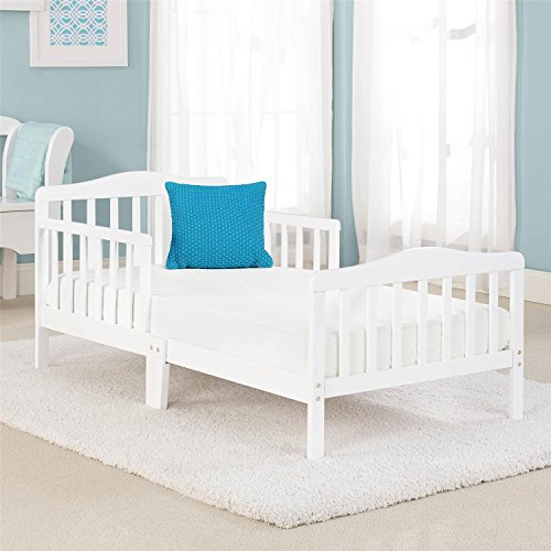 Big Oshi Contemporary Design Toddler & Kids Bed - Sturdy Wooden Frame for Extra Safety - Modern Slat Design - Great for Boys and Girls - Full Bed Frame With Headboard, in White