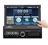 Radio Coche Bluetooth, Radio FM de Coche Podofo GPS Autoradio con Pantalla Táctil HD Motorizada de 7', Estéreo de Coche de un Solo DIN Soporte AUX, TF, USB, FM, Cámara de Marcha Atrás