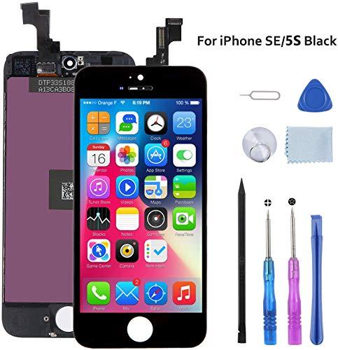 Beefix Kompatibel mit für iPhone Se / 5S Display schwarz 4,0'', LCD Touchscreen Ersatz Bildschirm Reparaturset Digitizer mit Werkzeuge.