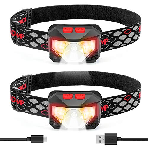 LED Headlamp Flashlight, USB Rechargeable Head Lamp 2 Pack, with Red Light, 8 Modes, Waterproof, Motion Sensor, Headlight Headlamps for Camping, Running, Outdoors, Emergency, Batteries Included