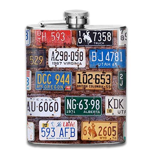 Oude Licentie Platen Museum Op Bakstenen Hip Flask voor Liquor Duurzame RVS Flask met U-Shaped Body 7 Oz Anti-Roest Flagon Lekvrije Hip Flask voor Reizen Vissen Picnic