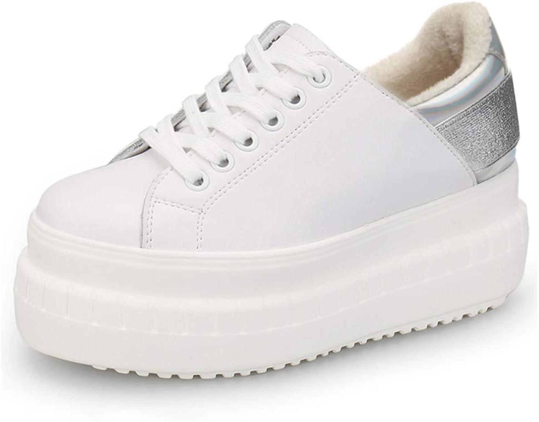 Bokun Women Sneakers Genuine Leather Flat Platform Plush Winter Womens White shoes