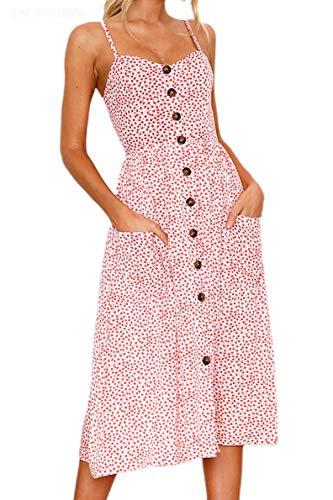 ONLY CHARM Damen Drucken Sommerkleid, Blumen Ärmelloses Rückenfrei Maxikleid Knöpfe Vintage Cocktailkleid Großformat, Rot,M