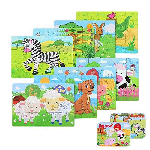 BBLIKE Kinderpuzzle, 8-In-2-Box 112pcs Kinder Tier Holzpuzzle Steckpuzzle Holz Montessori Spielzeug Puzzle Jigsaw Puzzles Set, Weihnachten Geburtstag (Tierpuzzle)