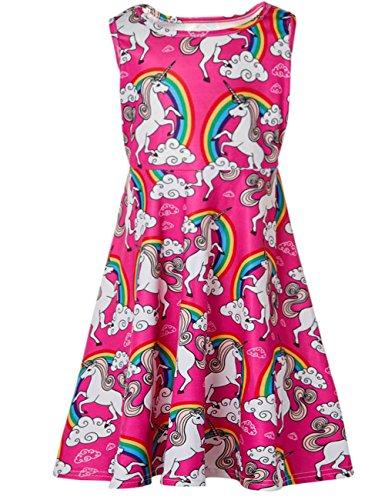 Funnycokid Mädchen Sommer Bekleidung Drucken Kleid,A-regenbogen Einhorn,11