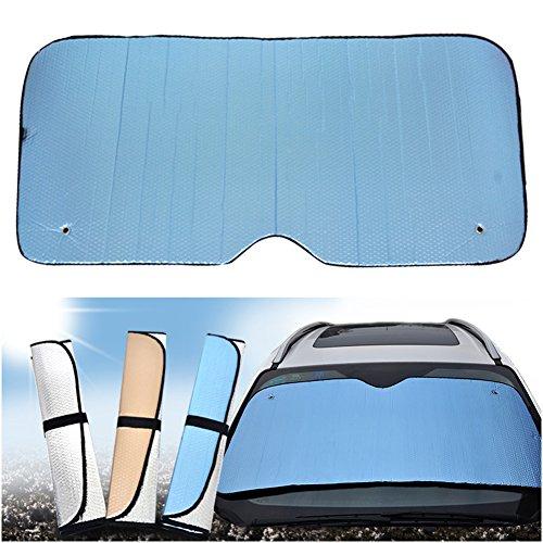 Doitsa - Parasol de coche para parabrisas de coche, plegable, con gancho para coche, parabrisas, cubierta delantera de doble cara, aluminio, 145 x 70 cm, color azul