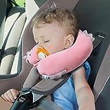 H HOMEWINS Reisekissen Kinder Nackenkissen Süß Reisen Nackenhörnchen Waschbar Kopfstütze Nackenstütze für Babyschale Autositz (Rosa Einhorn) - 2