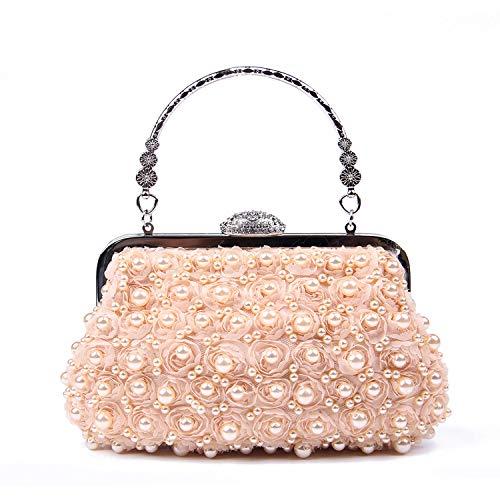 EVEOUT Clutch Suave de Lentejuelas con Cuentas de Semillas Florales Antiguas Exquisitas para Mujer,Embrague de Estuche Rígido,Elegante Bolso de Mano con Perlas Bolso de Noche para Mujer