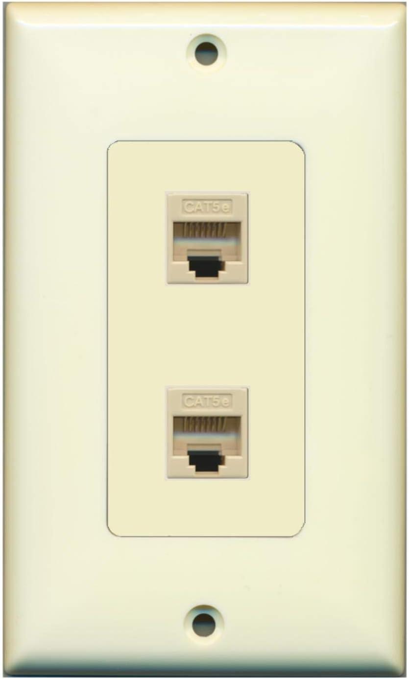 RiteAV Classic - Austin Mall 2 Port Cat5e Ethernet Decorative Alm Plate Wall Light