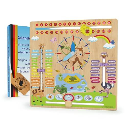 WoodyWood® Kalenderuhr für Kinder - Lernuhr aus Holz, zweisprachig, 30 X 30 cm - Montessori Jahresuhr zum Lernen der Uhrzeit, dem Datum, der Wochentage, Monate, Jahreszeiten und des Wetters