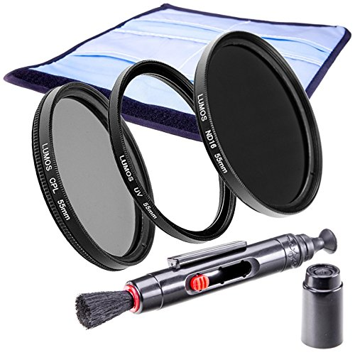 LUMOS Premium Filterset Slim 55mm - ND Filter - zirkularer Polfilter - Hochwertiger UV Schutzfilter - Zubehör Set für Kamera Objektiv 55 mm - UV-Filter - Lebendige Farben - ND16