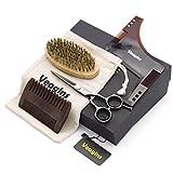 Kit de corte de barba para cuidado de los hombres. Contiene peine para barba, cepillo de barba, tijeras para modelar la barba, plantilla y bolsa de lona, regalo perfecto para papá marido