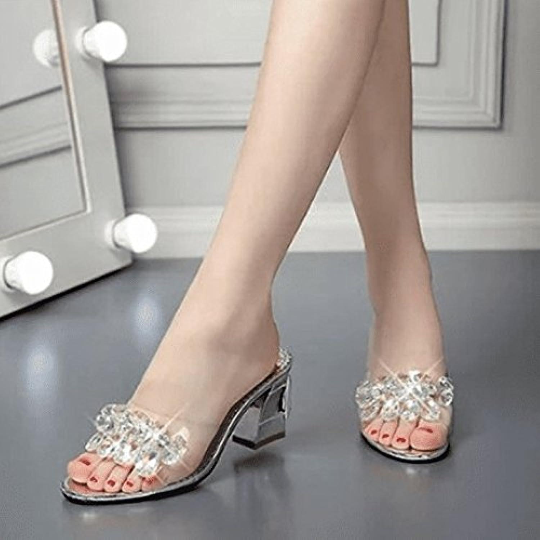 AWXJX Frauen Flip Flops Künstliche Diamanten High Heel Dick mit mit mit Transparente Rutschfeste Silber 7 US 37.5 EU 4.5 UK B07FD8WGWC  Neue Produkte im Jahr 2018 de3f47