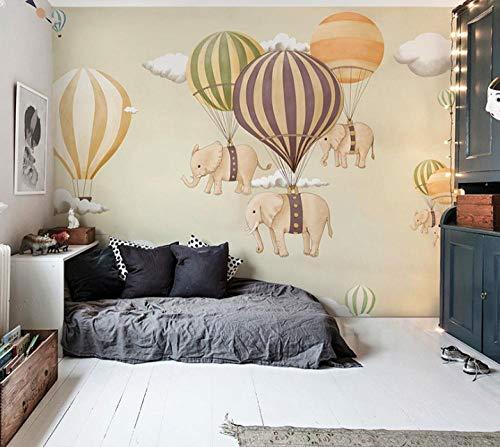 Heißluftballon Elefant Kinderzimmer Tapete Schlafzimmer Thema Hintergrund Wandmalerei -300 * 210cm