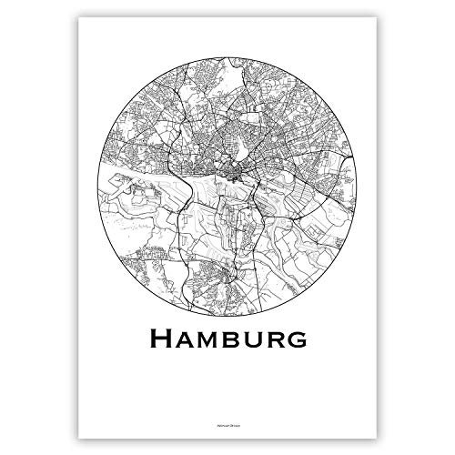 Plakat Hamburg Deutschland Minimalist Map - Poster, City Map, Dekoration, Geschenk