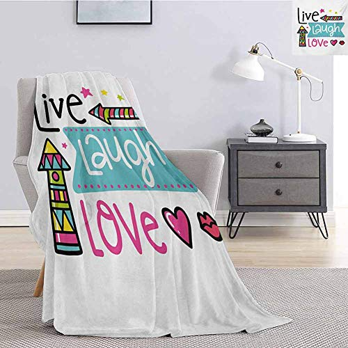 Live Laugh Love Plush Blanket for Bed Couch Lively Colors Cartoon Arrows with Geometric Shapes Kiss Hearts Phrase Print Soft Throw Blankets for Adults W40 x L60 Inch Multicolor