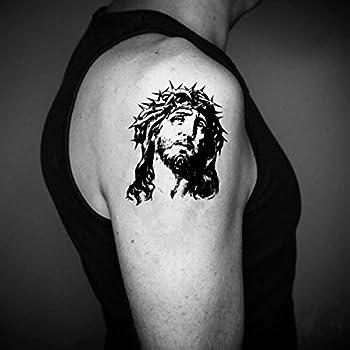 Jesus Temporary Fake Tattoo Sticker  Set of 2  - www.ohmytat.com
