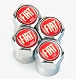 Fiat-Reifenventil-Staubkappen in Chrom und Rot 500,Abarth, Punto, Panda usw.