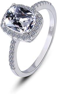 lem Abrillantador de anillosZirconia cúbica Diamante simulado Aniversario Promesa Anillo de Compromiso Anillo de Boda Conj...