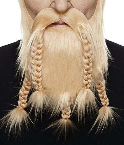 Mustaches Self Adhesive, Novelty, Viking Dwarf Fake Beard, False Facial Hair, Costume Accessory for Adults, Blond Color