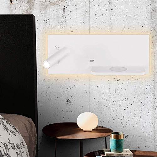 LOKKRG Lámpara de Pared con Interruptor/Aplique de Pared, Cargador inalámbrico USB Lámpara de Lectura de cabecera, Foco de Pared Ajustable Iluminación de Lectura de ingeniería, Cabecero de Hotel