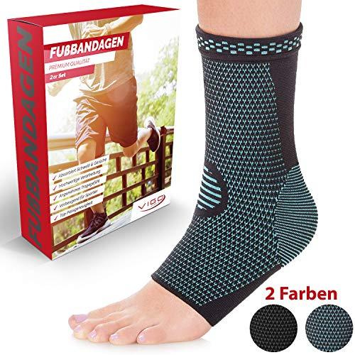 Vigo Sports Sprunggelenkbandage [2er Set] absorbiert Schweiß & Gerüche - Knöchelbandage zur Stabilisierung am Fußgelenk (Blau, M)