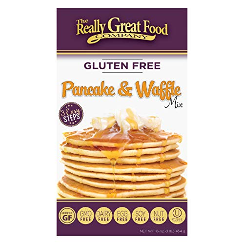 Really Great Food Company – Gluten Free Pancake amp Waffle Mix  16 ounce box  No Nuts Soy Eggs Dairy  Vegan  Kosher NonGMO and Plant Based