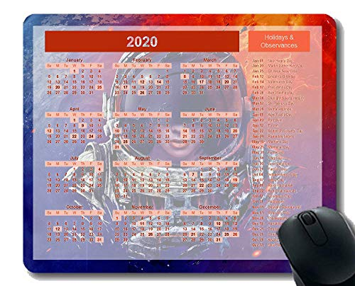Calendar for 2020 Year Mouse Pad,Woman Astronaut Planet Sci-Fi Art Themed Office Mouse Pad