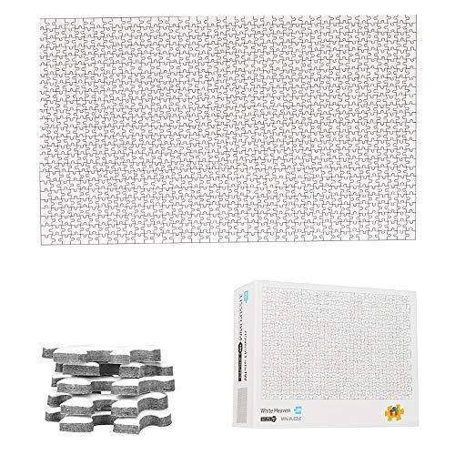 TINYOUTH Puzle de 1000 piezas, color blanco, para pintar, 42 cm x 29,7 cm, 2 mm, mini rompecabezas de cartón – Puzzle familiar con impresión reducida y difícil marco para niños y adultos