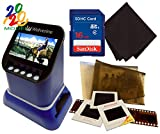 Wolverine F2D Saturn Digital Film & Slide Scanner - Converts 120 Medium Format, 127 Film, Microfiche, 35mm Negatives & Slides to Digital JPEG - 4.3' LCD w/HDMI Output, 16GB SD Card & Z-Cloth (Blue)