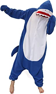 Shark Costume Adult One Piece Pajamas Unisex Halloween Christmas Costume for Women Men