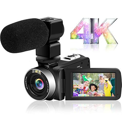ビデオカメラ4K YouTubeカメラ Wi-Fi機能 HD 48.0MP 60FPS 夜視機能 3インチタッチスクリーン ウェブカメラ タイムラプス&スローモーション検知 2.4Gリモコン付属 外付けマイク HDMI出力 六国語説明書