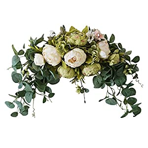 WYI Artificial Floral Swag, 30 Inch Handmade Flower Swag with Green Leaves Rose Peony Swag Arch Garland Simulation Flowers Arrangements Wedding Centerpieces for Front Door Home Decor
