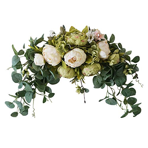 WDDH 29.5inch Floral Swag, Colorful Mixed Spring Floral Swag with Peony Flowers and Eucalyptus Leaves, Front Door Lintel Decorative Swag, for Wedding Arch Home Garden Decor